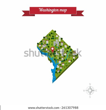 Washington DC, United States of America cartoon map. Flat style design - vector. - stock vector