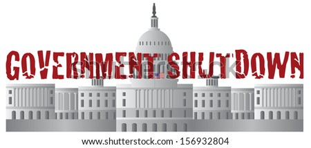 Washington DC US Capitol Building Government Shutdown Red Text Outline Vector Illustration - stock vector