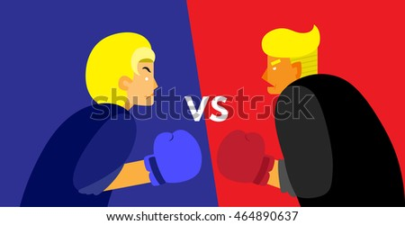 WASHINGTON, DC, USA - AUGUST 7, 2016: Vector Illustration of presidential candidates, Hillary Clinton and Donald Trump wearing boxing gloves, on blue and red background with a VS sign.