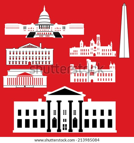 Washington DC., White House, Capitol, National building museum, National archives building - stock vector