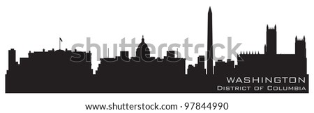 Washington, District of Columbia skyline. Detailed vector silhouette - stock vector