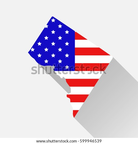 Washington District Columbia State Map Style Stock Vector