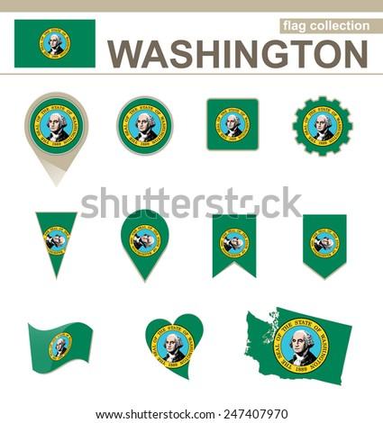 Washington Flag Collection, USA State, 12 versions - stock vector