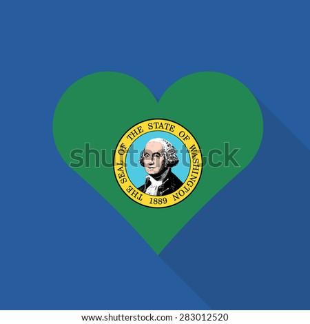 Washington heart flag flat style with long shadow. Patriotic design. Vector EPS10 - stock vector