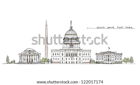 Washington (iconic buildings) background - stock vector