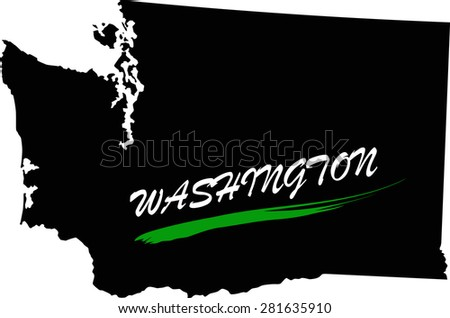 Washington map vector in black and white background, Washington map outlines in a new design - stock vector