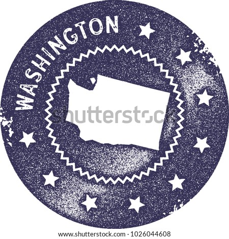 Washington Watercolor Us State Map Turquoise Stock Vector