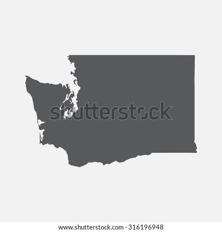 Washington state border map. - stock vector
