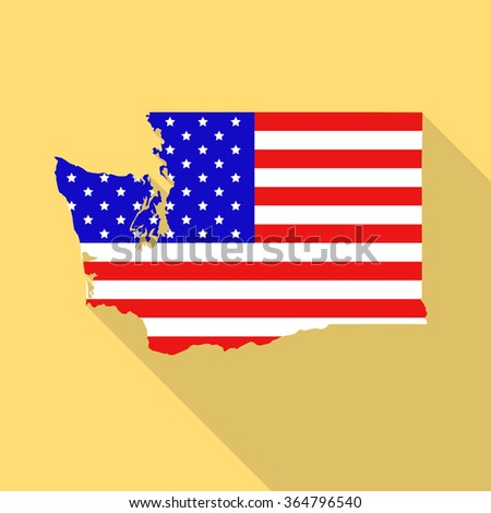 Washington state map in style of USA national flag. Flat style with long shadow - stock vector