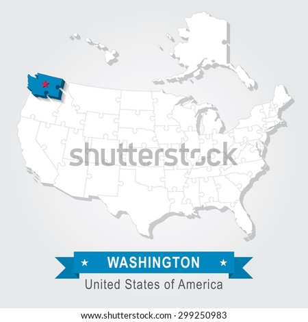 Washington state. USA administrative map.