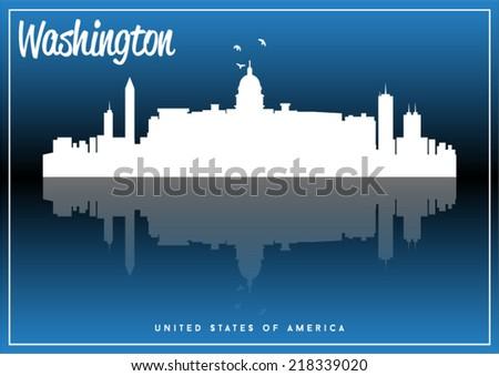 Washington, USA skyline silhouette vector design on parliament blue background. - stock vector