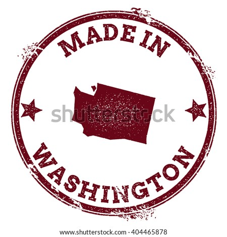 Washington vector seal. Vintage USA state map stamp. Grunge rubber stamp with Made in Washington text and USA state map, vector illustration. - stock vector