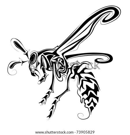 wasp vector - stock vector