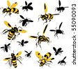 Wasps - stock vector