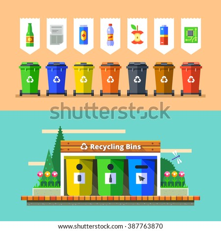 Waste management and recycle concept. Separation of waste on garbage bins. Sorting waste for recycling. Colored garbage cans with waste types. Vector illustration in flat design. - stock vector