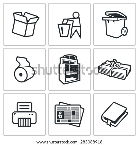 Waste paper icons. Vector Illustration. - stock vector