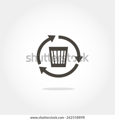 wastebasket icon with arrows, minimum points, clean work, vector illustration - stock vector