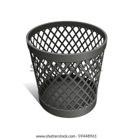 Wastepaper Basket black - stock vector