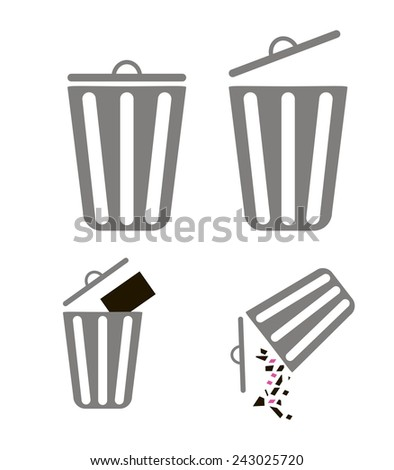 Wastepaper basket for design in mobile applications - stock vector