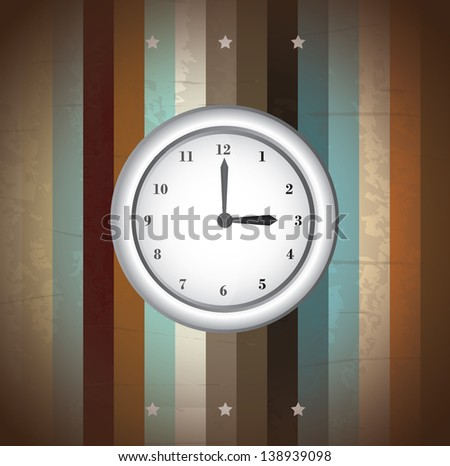 watch Clock 3:00 over country background vector  illustration.