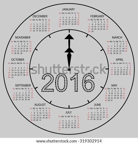 watch dial calendar 2016 new year. Week starts from Sunday