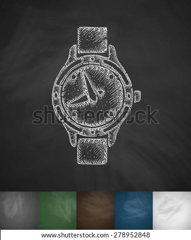 watch icon. Hand drawn vector illustration. Chalkboard Design - stock vector