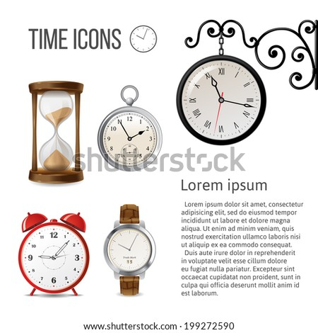 Watch time icons over white background - stock vector