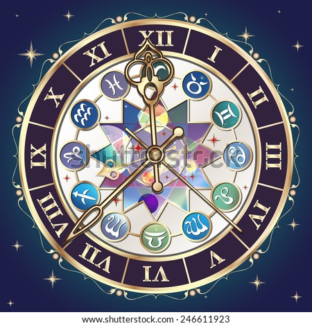 Watch with the astrological signs of the zodiac, vector illustration