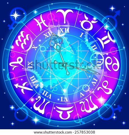 Watch with the astrological signs of the zodiac, vector illustration - stock vector