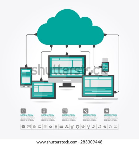 "Watches, computer, mobile phone, laptop connected to the ""cloud"". Cloud computing concept design. File is saved in AI10 EPS version. This illustration contains a transparenc - stock vector"