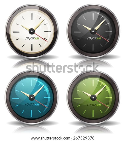 Watches Icons Set/ Illustration of a set of cartoon watch and clock icons, with black and white, blue and red screen version - stock vector