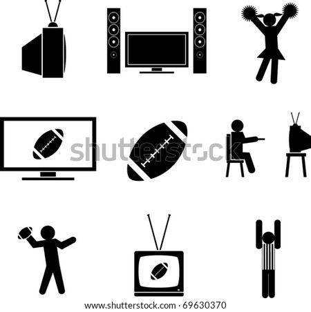 watching football symbols set - stock vector