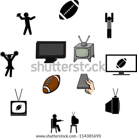 watching the football season illustrations and symbols set - stock vector