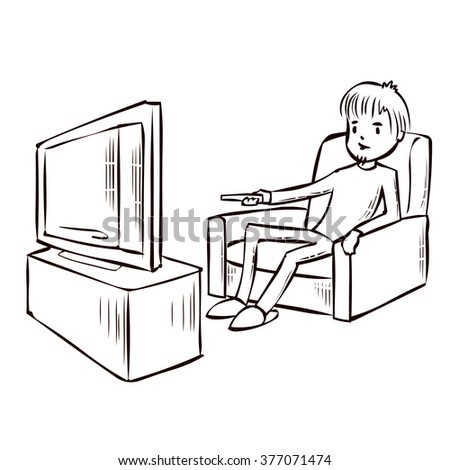 Cartoon Pictures Of Someone Watching Tv