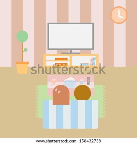 Watching TV in Living room, flat vector design - stock vector