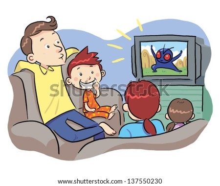 Watching TV With Family A family watching TV show. Vector EPS8 file. - stock vector