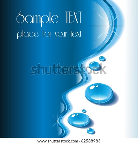 Water. A wave of water with drops. An illustration for your working out. You can find similar works in my portfolio. - stock vector