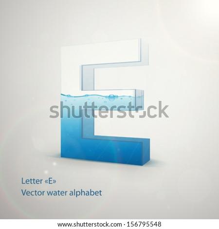Water alphabet on gray background. Vector. Letter E - stock vector