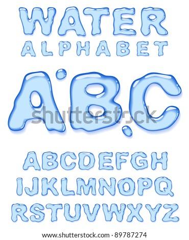 Water alphabet. Vector letters set. - stock vector