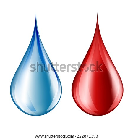 Water and blood drop