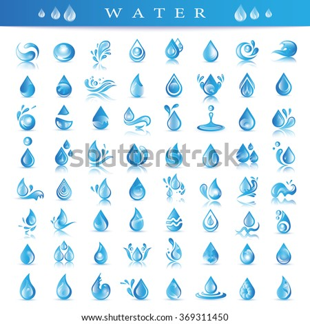 Water And Drop Icons Set - Isolated On Background - Vector Illustration, Graphic Design Editable For Your Design - stock vector