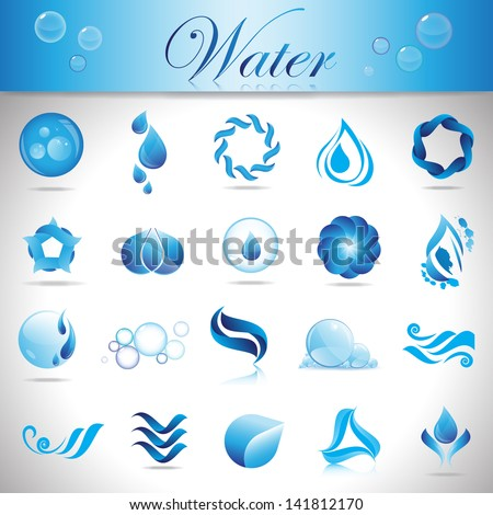 Water And Drop Icons Set - Isolated On Gray Background - Vector Illustration, Graphic Design Editable For Your Design - stock vector