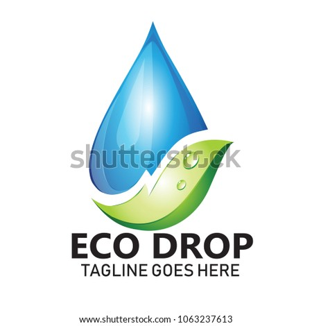 Water Leaf Vector Logo Natural Health Stock Vector 2018 1063237613