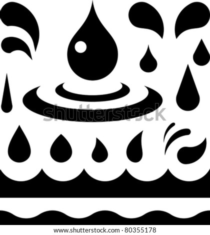 Water and liquid drops and wave patterns – Vector - stock vector