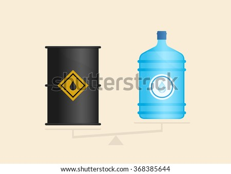 Water and oil on scales - stock vector