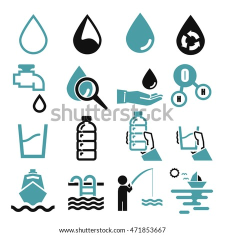 water, aqua icon set