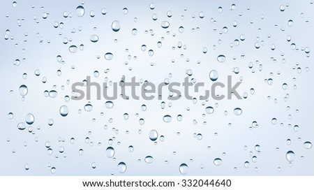 Water backgrounds with water drops. Blue water bubbles. Vector Illustration isolated on white background.