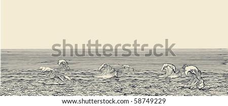Water banner - stock vector