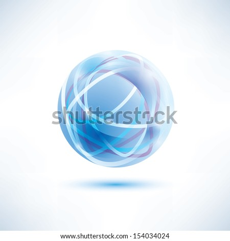 water blue abstract globe icon - stock vector