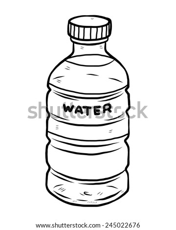 Water bottle cartoon vector and illustration black and white hand drawn sketch